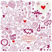 Amour doodles — Vecteur