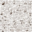 Stock Vector: Kitchen tools - doodles