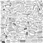 Cookery, kitchen tools - doodles — Stock Vector