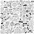 Travel,transportation - doodles set — Stock Vector