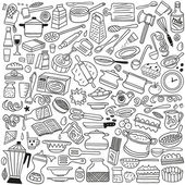 Cookery, kitchen tools - doodles — Stock Vector