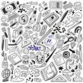 Art tools doodles — Stock Vector