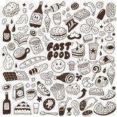 Fast food - doodles set — Stock Vector