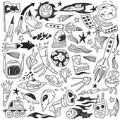 Space - doodles collection — Stockvektor