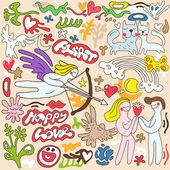 Love , Valentines day - doodles set — Stock Vector