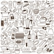 Kitchen tools - doodles collection — Stock Vector