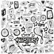 Hipsters - doodles set — Stock Vector