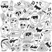 Halloween , evil , monsters - doodles — Stock Vector