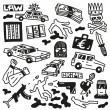 Stock Vector: Crime - doodles