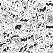 Halloween , evil , monsters - seamless background — Stock Vector