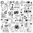Dancing robots - doodles — Stock Vector
