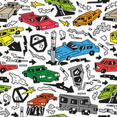 Garabatos de coches — Vector de stock