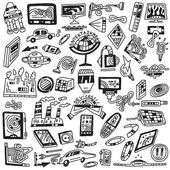 Technology devices doodles - vector icons — Stock Vector