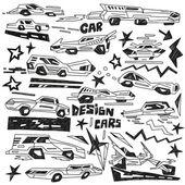 Super cars - doodles vector — Stock Vector