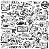 Computers games - doodles set vector — Stock Vector