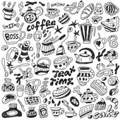 Coffee and sweets - doodles collection — Stock Vector