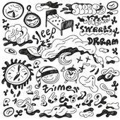 Night's sleep - doodles set — Stock Vector