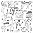 Horses - doodles set — Stock Vector