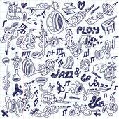 Jazz - doodles set — Stock Vector