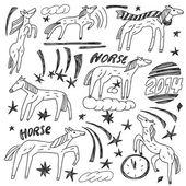 Horses - doodles set — Stock Vector