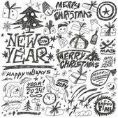 Christmas holidays , New Year - doodles set — Stock Vector