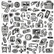 Mass media - doodles set — Stock Vector