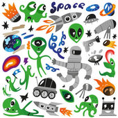 Space icons - vector illustration — Stock Vector