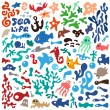 Stock Vector: Sea animals - doodles set