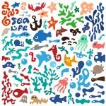 Sea animals - doodles set — Stock Vector