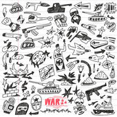 War,crime - doodles collection — Vector de stock