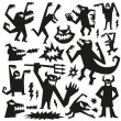Monsters - doodles set — Stock Vector