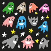 Funny ghosts - doodles set — Wektor stockowy