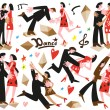 Постер, плакат: Dancing couples cartoons