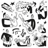 Jazz musicians - doodles set — Vector de stock