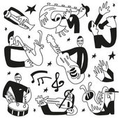 Jazz musicians - doodles set — Stockvektor