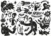 Space invaders ,aliens - doodles set part 2 — Stock Vector