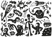 Space invaders ,aliens - doodles set part 1 — Stock Vector