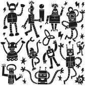 Robots - doodles set — Stock Vector