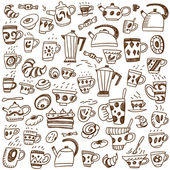 Coffee cups doodles — Stock Vector