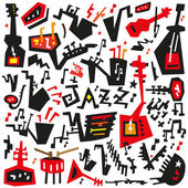 Jazz instruments - doodles set — Stockvector