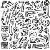 Paint tools - doodles — Stock Vector
