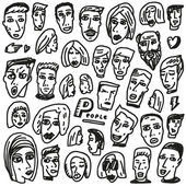 Faces - doodles collection — Vector de stock