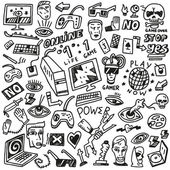 Computer games - doodles set — Stock Vector