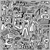 Rap,hip hop ,graffiti - doodles set — Stock Vector