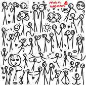 Man and woman , people - doodles set — Stock vektor
