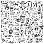 War - doodles set — Stok Vektör