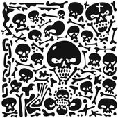 Skulls and bones doodles — Vecteur