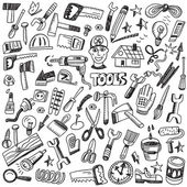Working tools - doodles set — Stock Vector