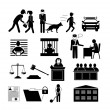 Police, law and justice icons — Stock Vector #47219343