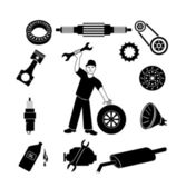 Car mechanic and service icons. — Stock Vector